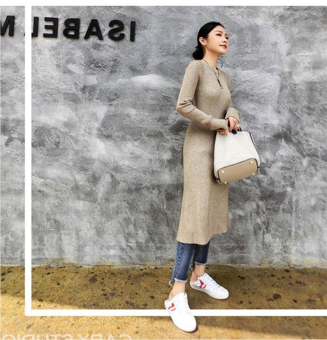 Modem Girl♥100%實拍 基本款必備!彈力針織洋裝長裙