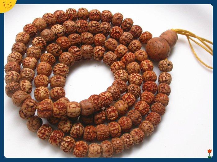 【雅之賞|藏傳|佛教文物】*特賣* 尼泊爾 優質手工天然金剛菩提(8mm)108顆佛珠(實物拍攝)~Q1449