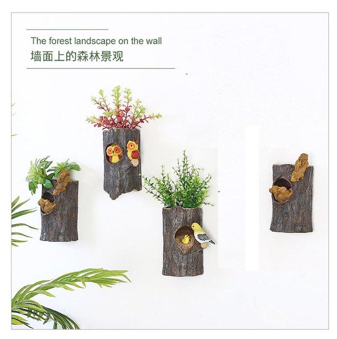 掛飾牆飾假花 美式鄉村動物樹樁牆上裝飾品餐廳牆面壁掛客廳牆壁掛件_☆找好物FINDGOODS ☆