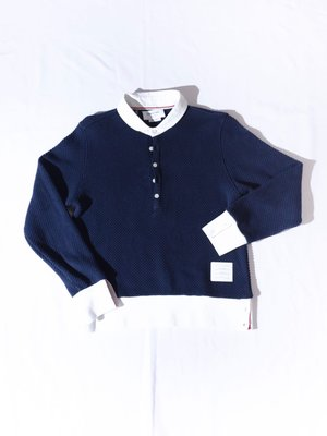 THOM BROWNE Knitted long-sleeved POLO shirt. TB 針織 長袖