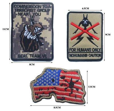 JHS((金和勝 生存遊戲專賣))美國 海豹六隊 ACU 魔鬼氈 刺繡臂章 9067-24