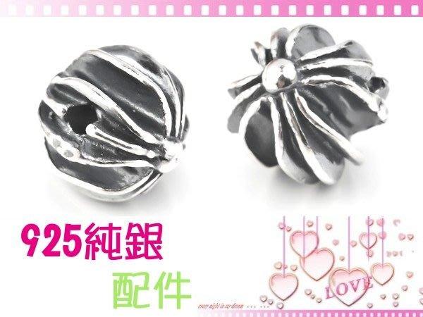 【EW】S925純銀DIY材料串珠配件/經典立體硫化染黑十字圓珠5.5mm-A款~適合手作串珠/蠶絲蠟線