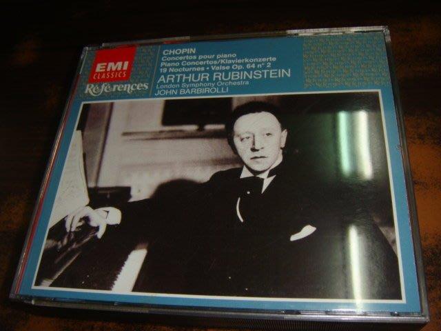 好音悅 半銀圈 Rubinstein 1930 Chopin 鋼琴協奏曲 夜曲集 2CD EMI 德SONOPRESS版