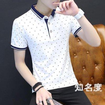 短袖POLO衫 2019新款夏季男士短袖T恤 潮韓版潮流翻領polo衫男上衣服有帶領子 3色M-4XL