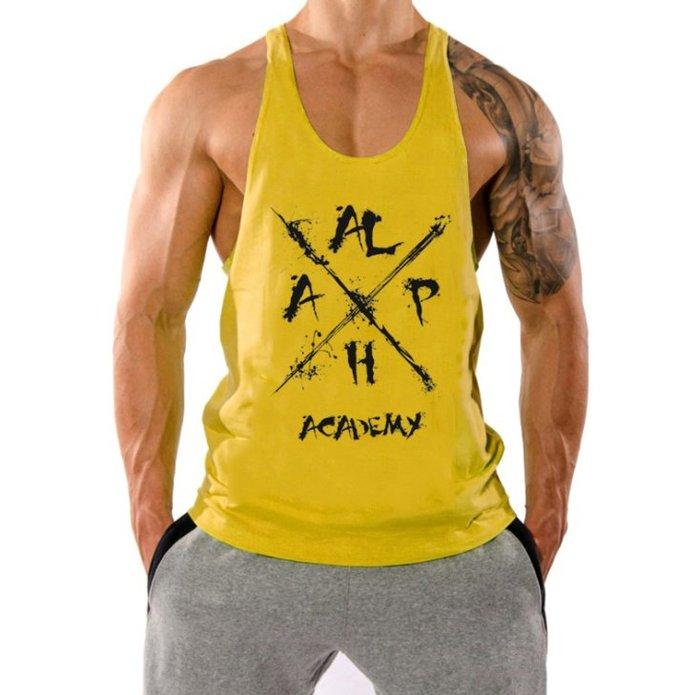 TT064 歐美爆款男士純棉印花阿爾法肌肉健身挖背背心 籃球運動衫 大開叉 重訓 運動 HITOMEN