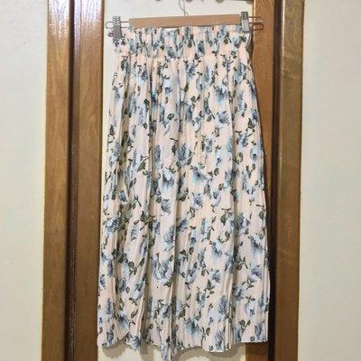 粉橘花朵細摺雪紡長裙 Chiffon pleated skirt