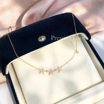 Dreamy日韓飾品Pressing Love925純銀項鍊女小眾氣質玫瑰金色鎖骨鍊簡約皇冠吊墜
