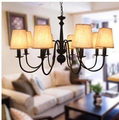 簡歐吊燈 餐廳吊燈創意現代燈具 8頭客廳 美式鐵藝吊燈 新品BY13