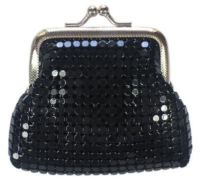 【卡漫迷】 黑色 仿亮片 雙珠扣 零錢包 庫1 小物 收納包 萬用包 扣式 夾式