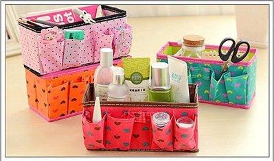 居家收納 美人心 愛心撞色化妝盒 桌面雜物折疊收納盒 化妝品收納盒