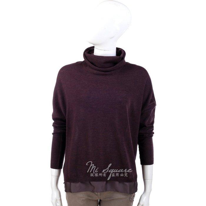 米蘭廣場 FABIANA FILIPPI 酒紅色材質拼接設計長袖高領上衣 1340331-A8