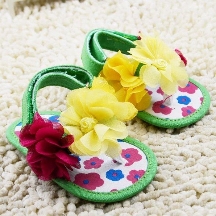 森林寶貝屋~立體花夾腳涼鞋~學步鞋~幼兒鞋~寶寶鞋~娃娃鞋~學走鞋~童鞋~粘扣設計~穿脫方便~彌月送贈禮