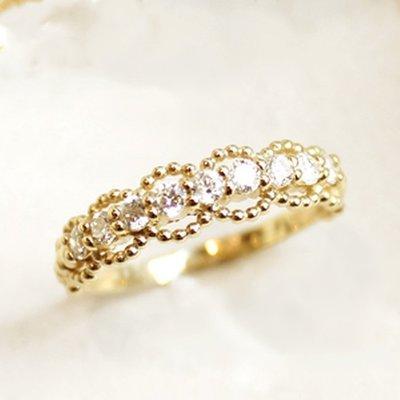日本訂製18k金蕾絲鑽石線戒 tiffany agete 輕珠寶風格