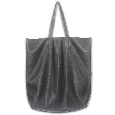手提包 真皮 托特包-超大容量黑色牛皮肩背女包包2款73vi25[獨家進口][米蘭精品]