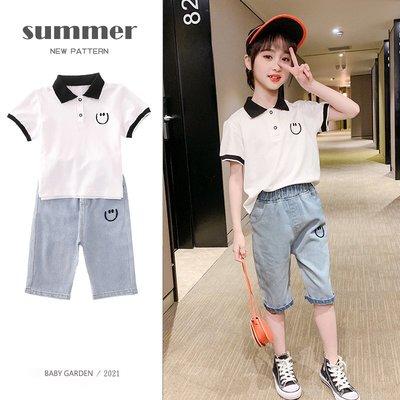 【TF4508】✿寶貝花園✿ 2021夏季新品 女童 中大童 POLO衫短袖上衣+牛仔褲 二件套 套裝