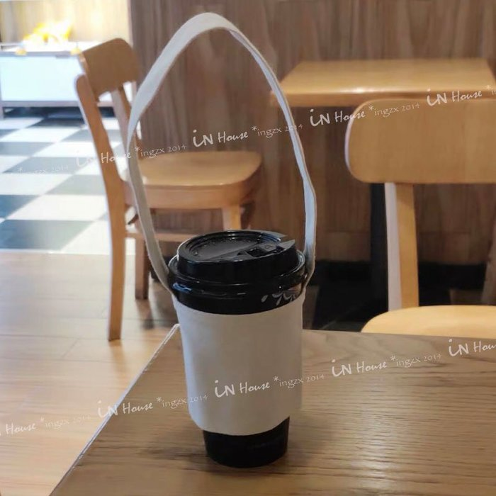 IN House*🇹🇼現貨 素色 空白 帆布 手提袋 手搖杯  DIY 彩繪 杯套 咖啡奶茶 便攜 隔熱 環保 杯袋