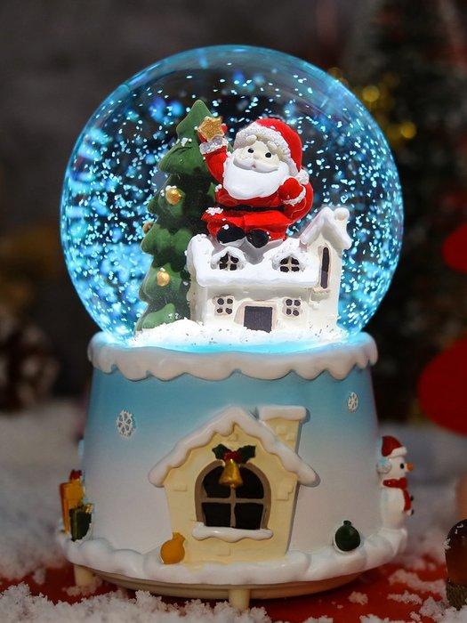 圣誕節水晶球音樂盒女孩平安夜禮物浪漫樹老人雪人兒童八音盒雪花