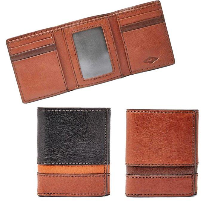 FOSSIL口袋三折短夾防側錄 RFID Easton Traveller可放相片黑拚色/咖啡現貨↗小夫妻精品嚴選↖