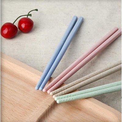 創意小麥秸稈家用防滑筷子套裝情侶兒童家庭裝韓國餐具4雙裝
