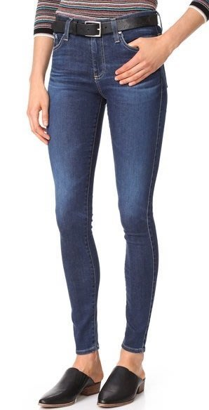 ◎美國代買◎AG the Farrah skinny大腿深藍刷色高腰顯廋合身牛仔褲
