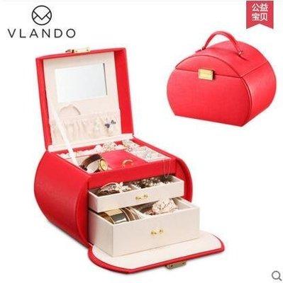 【優上】首飾盒公主歐式珠寶盒木質帶鎖手飾品收納盒項鍊戒指盒「石榴紅」