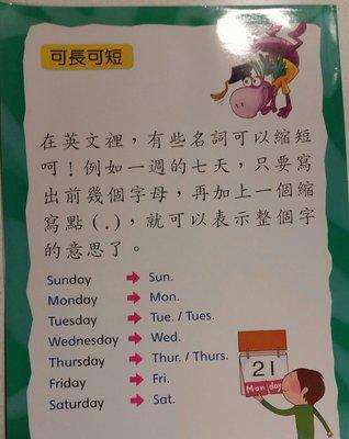 國小中高年級英語活化課程教具專任教室佈置的絕佳素材隨和的someWeekday 縮寫助動詞 do/does