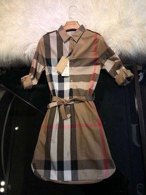 【全新正貨私家珍藏】Burberry Vintage 復古格紋棉質繫腰襯衫式連衣裙((上班族必買款))