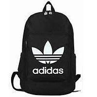 ADIDAS~大字樣 阿迪達斯三葉草雙肩包男女中學生書包愛迪達後背包- 中款背包-經典黑白