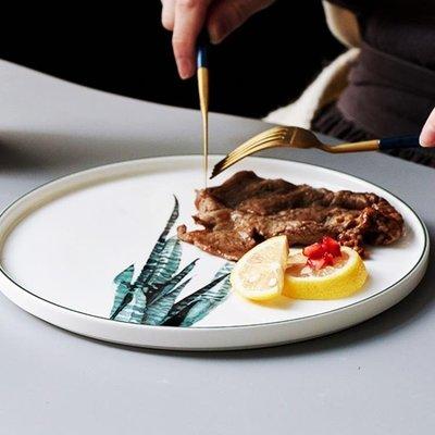 日居仕日式圓形陶瓷平盤家用茶水點心托盤...
