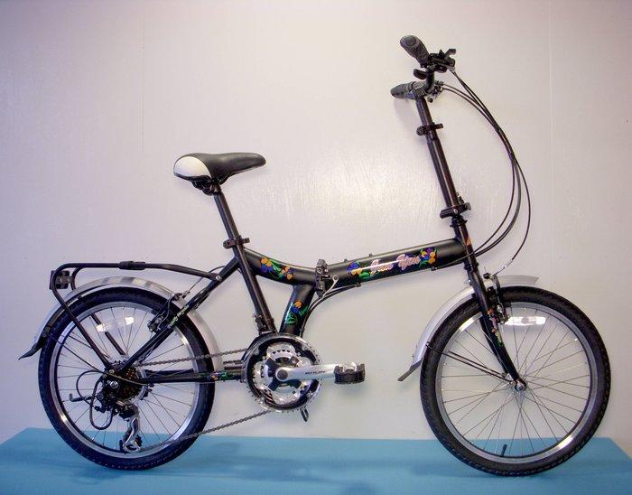 JY 20吋 21速 SHIMANO 黑騎士 Y型跑車 摺疊車 小折 折疊腳踏車 黑色 可搭配置物籃