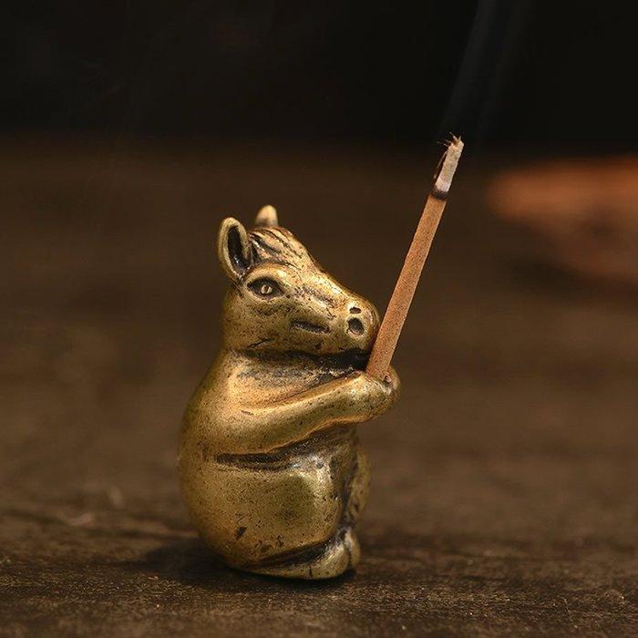 生肖馬純銅線香插佛香爐茶道家居工藝品擺件托架