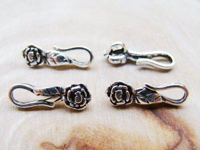 嗨,寶貝銀飾珠寶* 925純銀飾 DIY串珠配件☆15mm玫瑰花葉搭扣 手鍊項鍊S扣 全面85折 特價除外