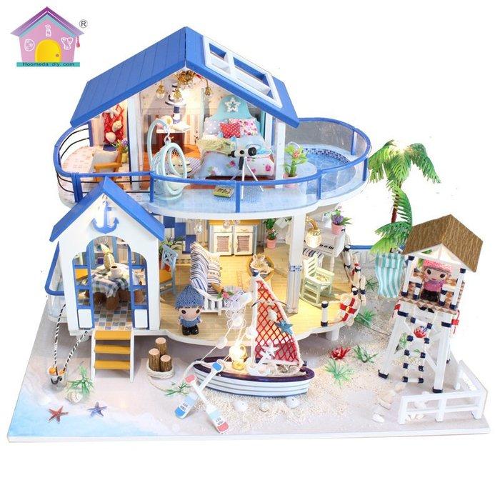 【童妡小屋】 藍海傳說 附罩再送音樂 ~ 雙層藍色海邊獨棟別墅 獨立泳池沙灘  DIY小屋袖珍屋