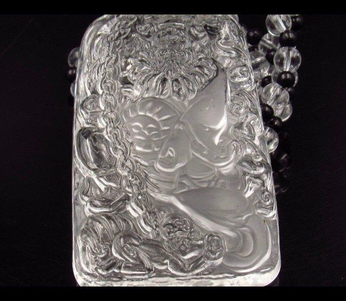珍奇翡翠珠寶首飾-天然寶石級白水晶大厚件,放光通透非常美,賜福天師,鍾馗,辟邪保平安,賜福防小人,幫助事業,鍊子也是頂級白水晶
