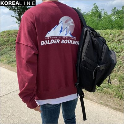 搖滾星球韓國代購 BOLDER BOULDER字母印刷落肩衛衣 / 4色 MT6065