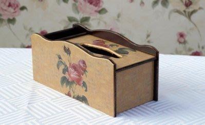 【易發生活館】深情玫瑰多功能遙控器面紙盒大號面紙盒歐式家用餐巾紙盒木質複古高檔
