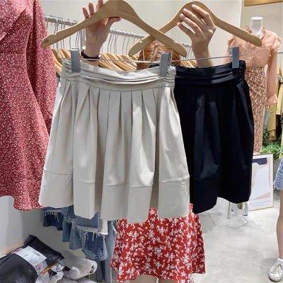 【2A Two】東大門高腰壓褶⌒A字版型 簡約褲裙『BB00200』(?增加卡其/黑/杏)
