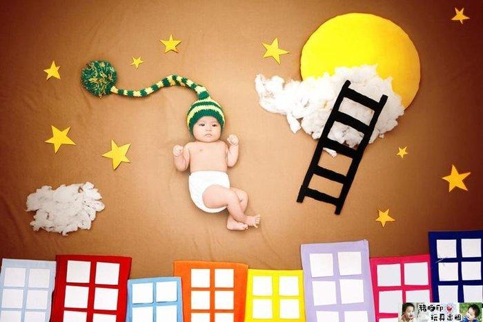 °✿豬腳印玩具出租✿°寶寶攝影背景毯/嬰兒拍照背景(滿月照/百日照/周歲照)毛線帽款~預約制