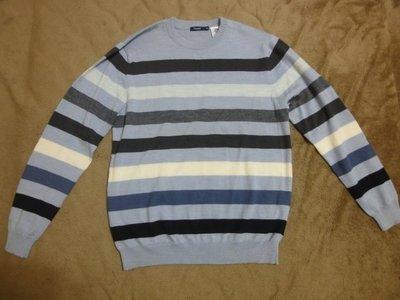 (抓抓二手服飾)  BOSSINI  長袖羊毛衫  水藍色條紋  九成新   M  (111)
