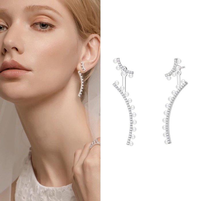 💎1087、哥德蕾絲系列 氣質優雅珍珠弧緣微鑲耳環(兩戴式,可單戴上方小弧線)💎正韓 飾品 空運 珠寶 耳環 ED030