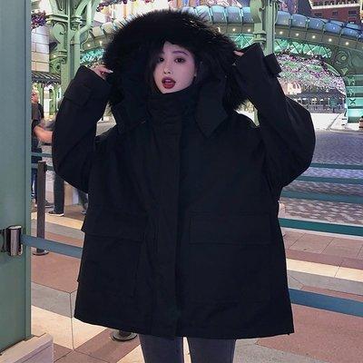 BZA 大毛領連帽加厚寬松中長款長袖棉服工裝外套棉衣女裝冬季大衣
