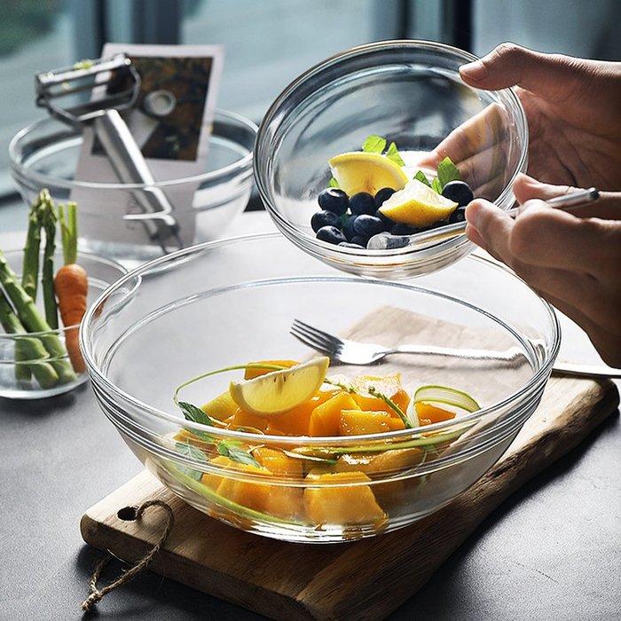 家用創意玻璃沙拉碗水果蔬菜沙拉碗米飯碗泡面碗沙拉碗 (23CM)_☆找好物FINDGOODS ☆