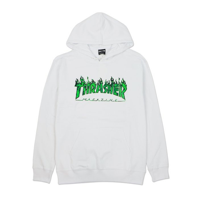THRASHER GHOST FLAME HOODED 鬼火帽T-WHITE/GREEN【HopesTaiwan】