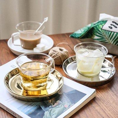 馬克杯 玻璃杯高腳杯啤酒杯牛奶杯創意耐高溫玻璃帶把手咖啡杯陶瓷底座茶杯牛奶杯花茶碟套裝