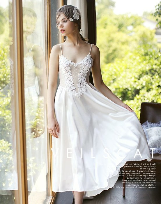 ♥PK漂亮♥ F18107 白色性感透明蕾絲法式馬甲細肩帶長裙睡衣襯裙洋裝 黑粉3色