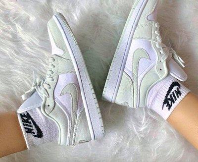 "Air Jordan 1 Low"" Spruce Aura""白薄荷綠 云杉仙色 小清新 皮革 滑板鞋CW1381-003"