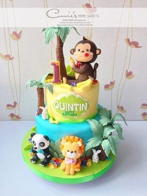【Connie's Home Sweets】Jungle Animals Monkey 馬騮 動物 可自訂款式 生日會 百日宴蛋糕 立體蛋糕
