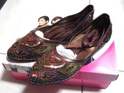 ㊣超便宜㊣全新轉賣 異國民族風珠珠包頭繞踝低跟鞋/低跟包鞋涼鞋 休閒鞋 35號 咖啡色出清【$650元】