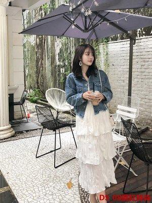 DS_08網紅時尚很仙的裙子蛋糕裙半身裙女2019年春款褶皺奶油裙超仙白色仙女長裙