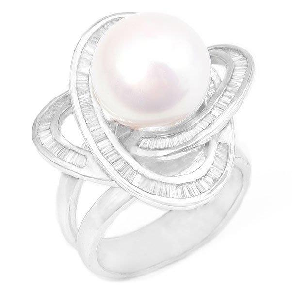 【JHT 金宏總珠寶/GIA鑽石專賣】12.4mm天然珍珠鑽戒/材質:14K(PP00014)